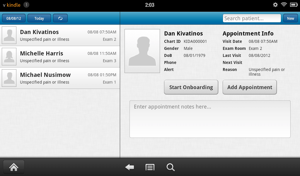 electronic health records app for android patient schedule screen