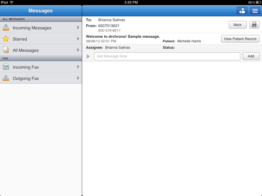 message center in drchrono electronic health records iPad app