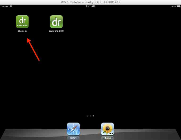 drchrono check in app icon on iPad desktop