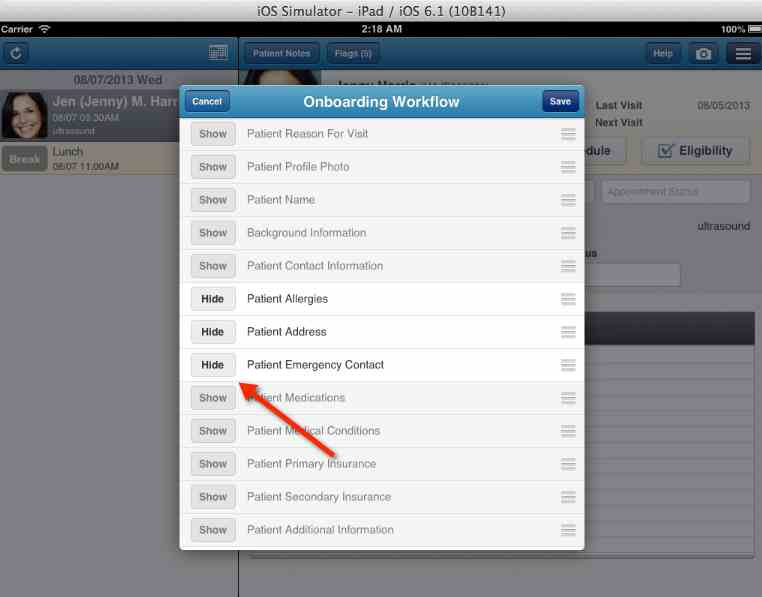 location of hide button for check in fields in drchrono ipad patient check-in app