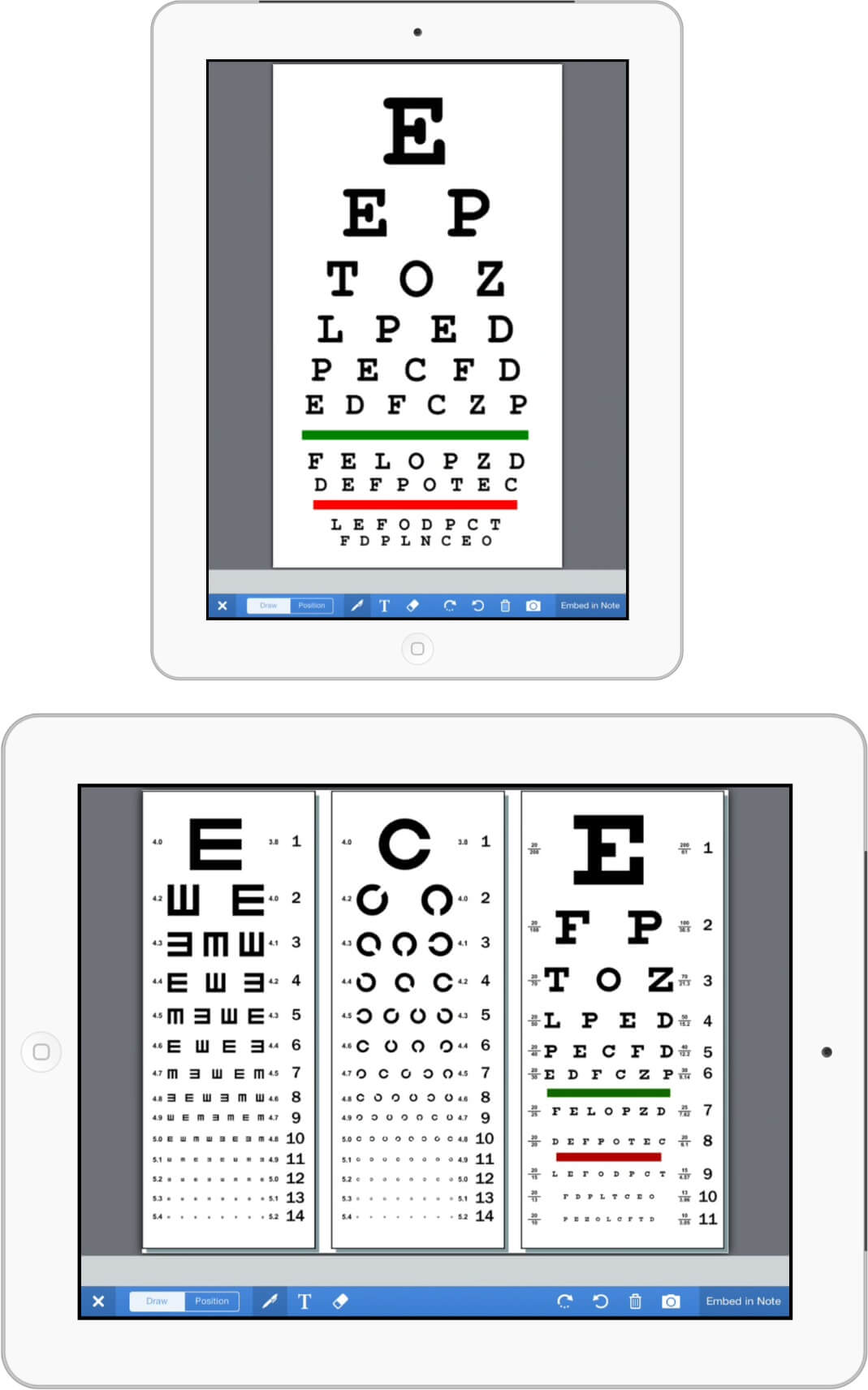 eye charts on iPad in drchrono cloud based EHR