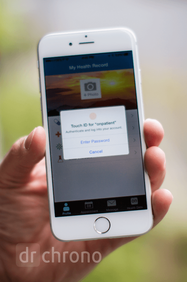drchrono onpatient personal health record Touch ID